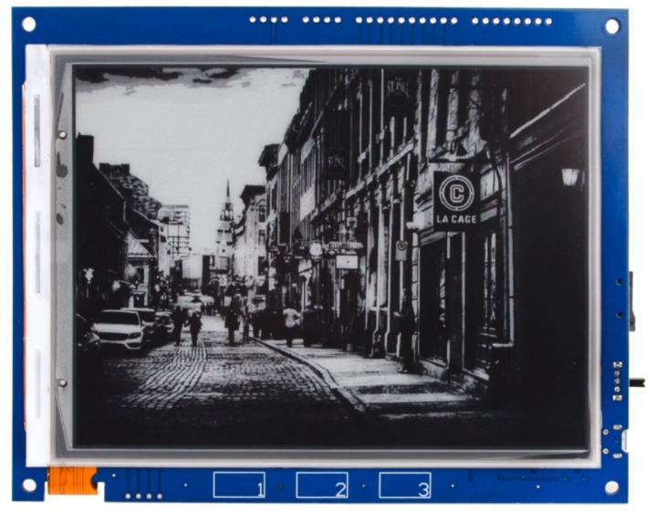 其螢幕可顯示3bit灰階共8色,能夠顯示microSD卡中的圖片。
