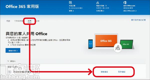 5.如要取消邀請連結或中止某人的Office 365授權,在「共用」頁面操作即可。