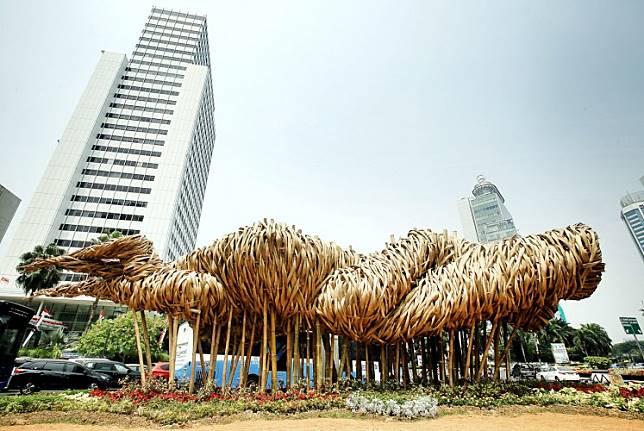 Artist Joko Avianto's Getah Getih installation as seen in the busy Thamrin area, in the heart of Jakarta.