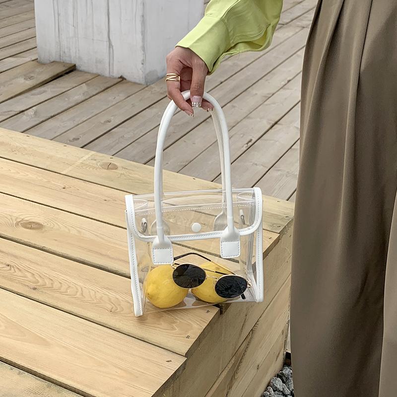 韓國東大門夏季新款簡約PVC透明手提包ins女包時尚單肩斜跨沙灘包
