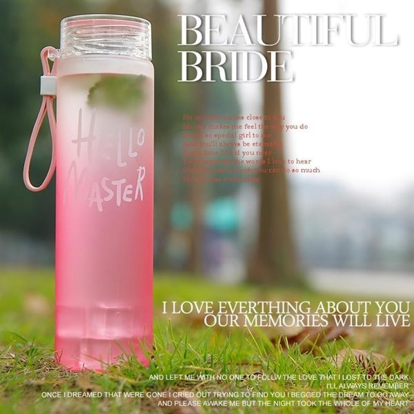 【Hello七彩杯小號】時尚磨砂玻璃杯 霧面玻璃瓶 water水杯 漸層變色水瓶 手提繩直身水壺