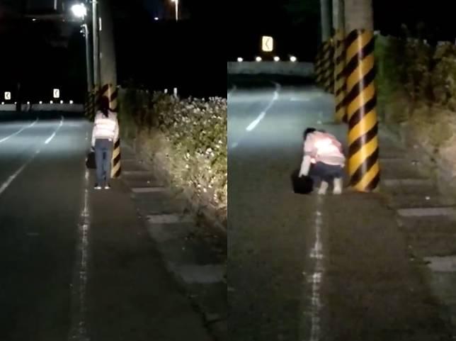 ▲一名女子疑為祈願,在大馬路旁行「三步一跪拜」,徒步往台中大安區的方向前進。(圖/翻攝自爆廢公社)