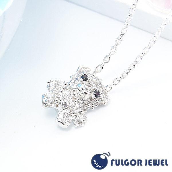 FU飾品 925純銀 聖誕節 禮物 歐美意大利流行 泰迪熊造型 鋯石925純銀項鍊【Fulgor Jewel】