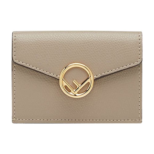 Compact F is Fendi tri-fold wallet, with large internal compartment for notes, three concealed card holder pockets and an external coin purse with a press-stud fastening. Made of red tumbled Cruise leather. Decorated with the F is Fendi logo. Gold-finish metalware. Made in Italy