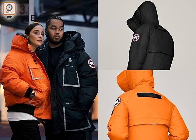 OVO x CANADA GOOSE分別會推出男裝Constable Parka及女裝Chilliwack Bomber兩個褸款,並各自有黑色及橙色選擇。(互聯網)