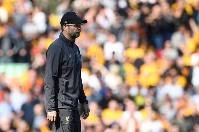 Liverpool's German manager Jurgen Klopp reacts at the end of the English Premier League football match between Liverpool and Wolverhampton Wanderers at Anfield in Liverpool, north west England on May 12, 2019.