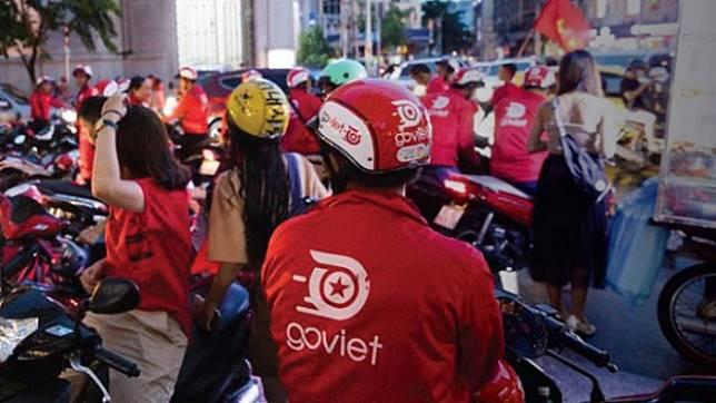 Ratusan Pengemudi Go-Viet Protes Skema Poin Baru. (FOTO: Boxcar).