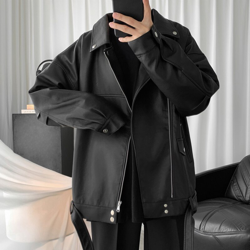 暖寒必備 皮衣 2020秋季新款pu皮衣外套男士短款機車皮夾克韓版潮流款帥氣上衣服(男)