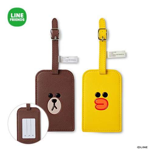 LINE FRIENDS 皮革 行李 吊牌 (熊大, 莎莉) - 韓國直送
