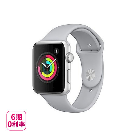 Apple Watch Series 3 (GPS) 銀色鋁金屬錶殼搭配薄霧灰色運動型錶帶-38mm()