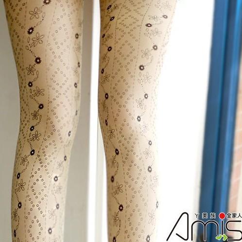 【Amiss】個性圖騰‧刺青褲襪-菱格碎花(C202-26)