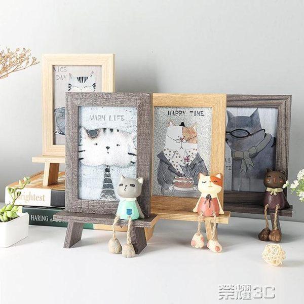 相框 創意相框個性復古木質6寸擺台可愛ins相架擺件鐵藝畫框水培簡約 新品