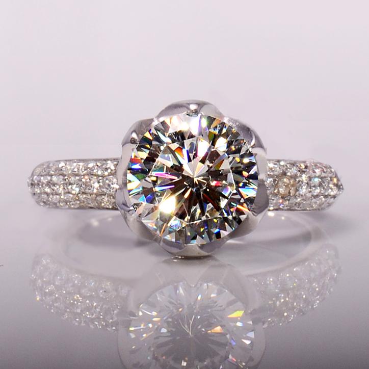 花瓣925純銀 鋯石模擬鑽石戒指 3克拉鍍鉑金戒指款婚戒 包郵