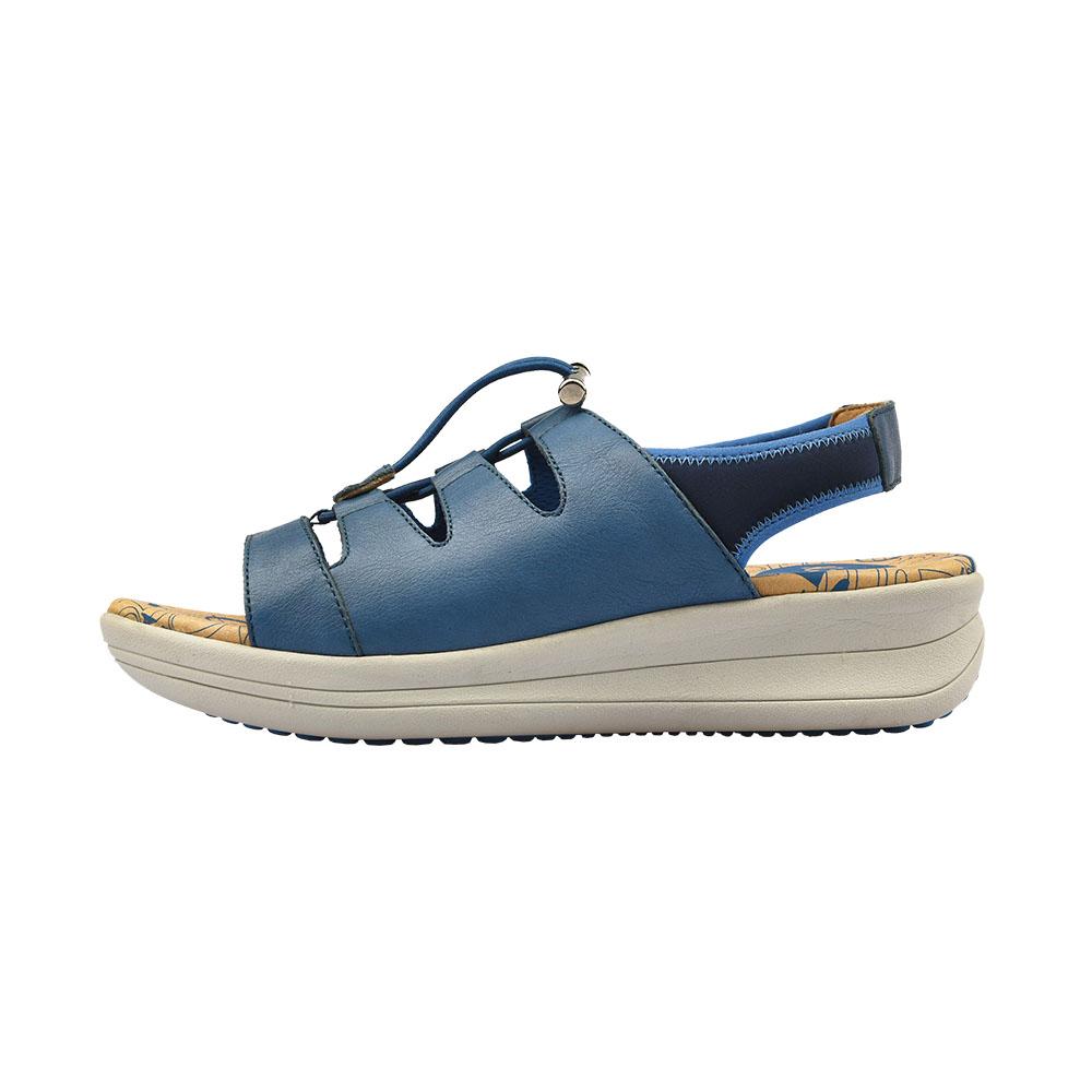 運動風牛皮輕量舒適鬆糕涼鞋(運動藍862306410892)牛皮‧涼鞋-Kimo德國品牌手工氣墊鞋