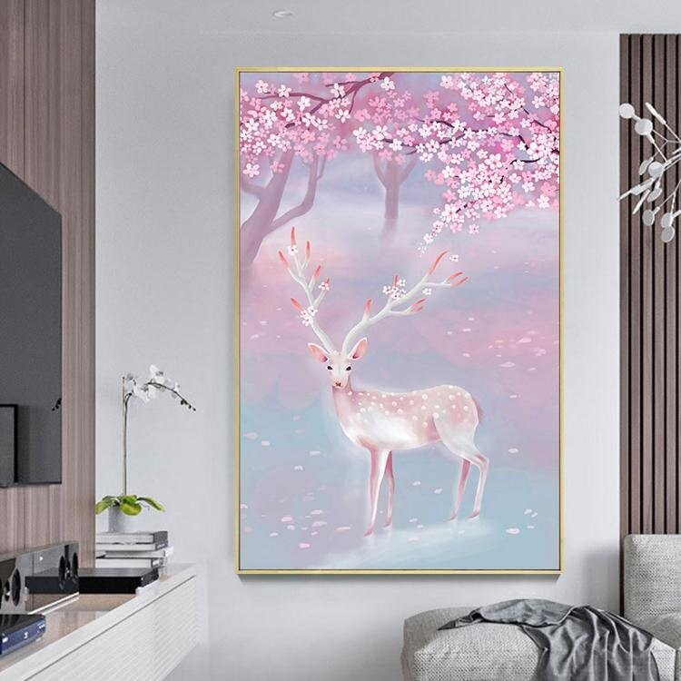 [樂天精選]鑽石畫滿鑽貼鑽十字繡麋鹿簡約現代客廳玄關點磚石秀
