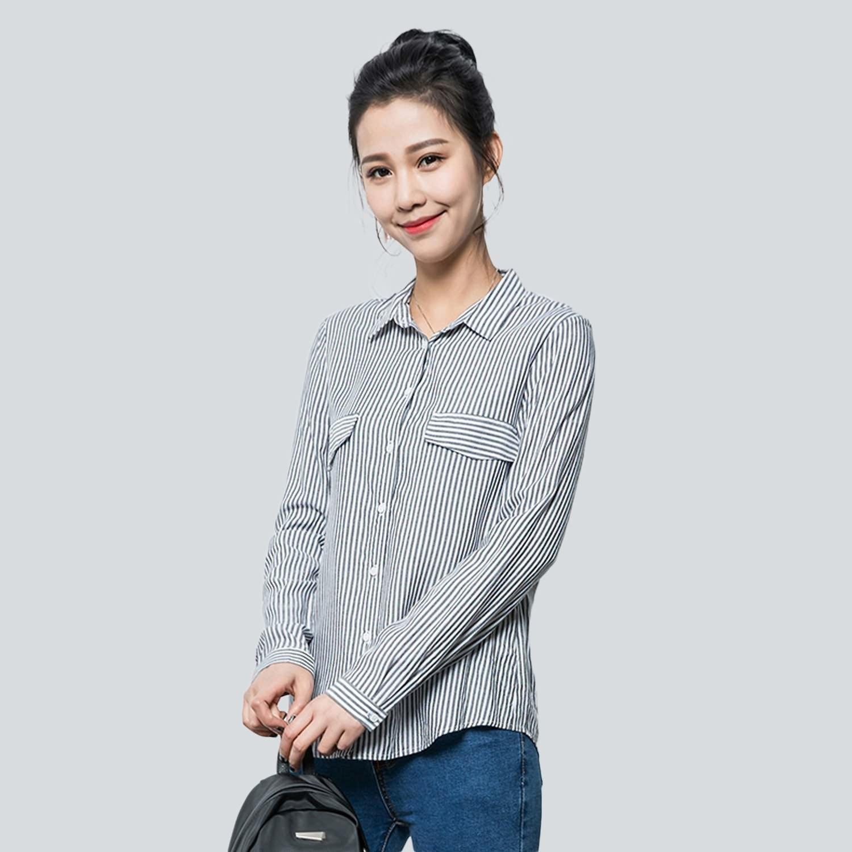 長版襯衫--復古風慵懶OverSize雙口袋直線條立領襯衫外套(黑XL-5L)-I84眼圈熊中大尺碼