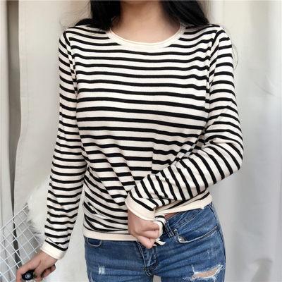 韓國秋冬條紋薄款針織衫毛衣T恤女裝1715 PF503-B依佳衣