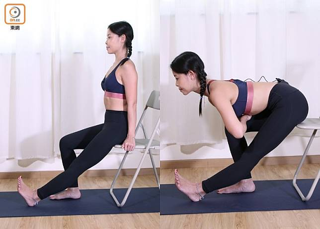 單腳伸展:坐在椅邊,左腳伸直,腳趾指向自己,右腳曲膝平放地上,十指互扣放在右大腿上,吸氣時坐直拉長脊骨,呼氣時慢慢拉長,大約做5個呼吸,慢慢回到原位,然後換腳做。(盧展程攝)