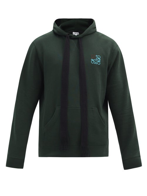 Loewe - Loewe's forest-green hooded sweatshirt is embroidered with a blue and black Anagram logo for