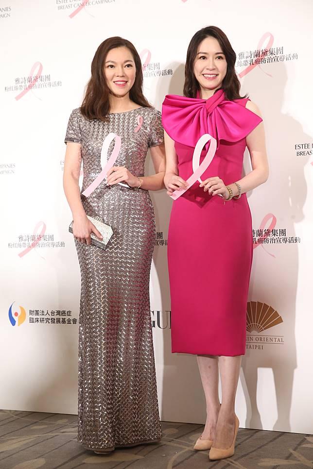 曾馨瑩(左)與蔡依珊出席乳癌防治晚宴。記者徐兆玄/攝影