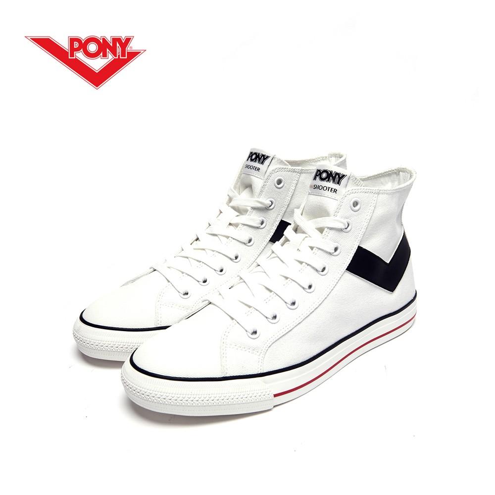 PONY Shooter系列經典復古帆布鞋-女-白色