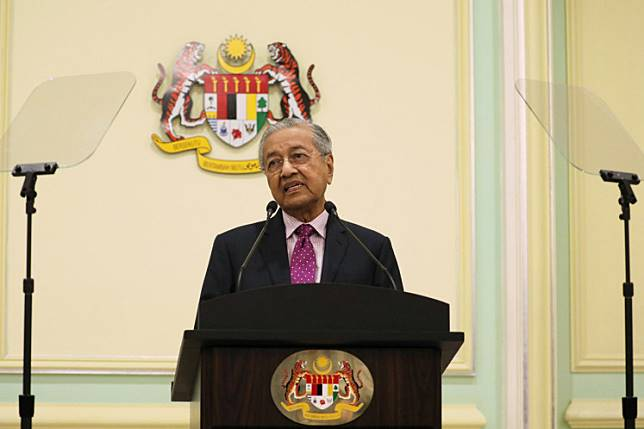 Malaysia's Interim Prime Minister Mahathir Mohamad speaks during a news conference in Putrajaya, Malaysia, Feb. 27, 2020.