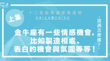 【08/24-08/30】十二星座每週愛情運勢 (上集) ~金牛座有一些情感機會,比如製造相處、表白的機會與氛圍等等!