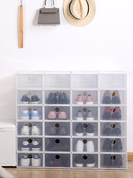 鞋盒 日本天馬株式會社翻蓋式aj鞋盒透明塑料jrs收納盒宿舍籃球鞋鞋櫃 伊蘿鞋包