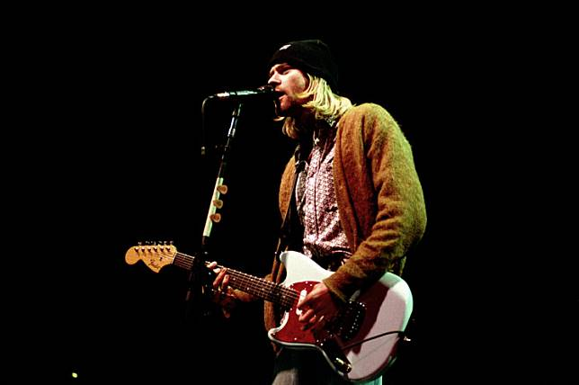 Singer and guitarist of Nirvana, Kurt Cobain, during band's concert in Milan, Italy, on Feb. 25 1994.