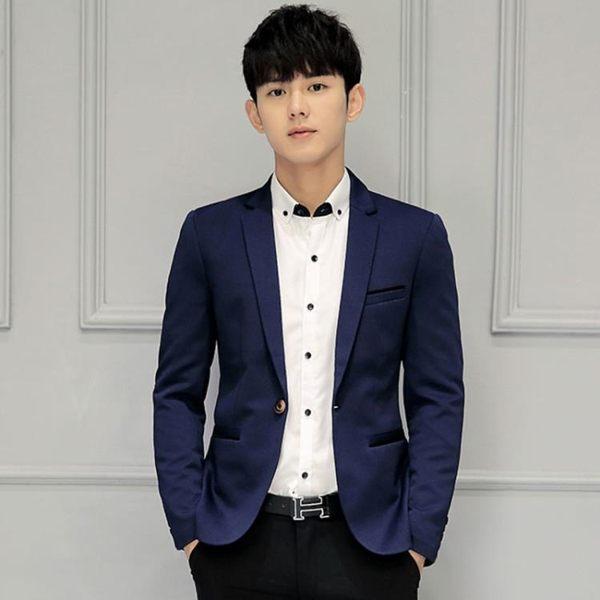 男士西服青年韓版修身西裝職業裝單小西裝休閒格子外套