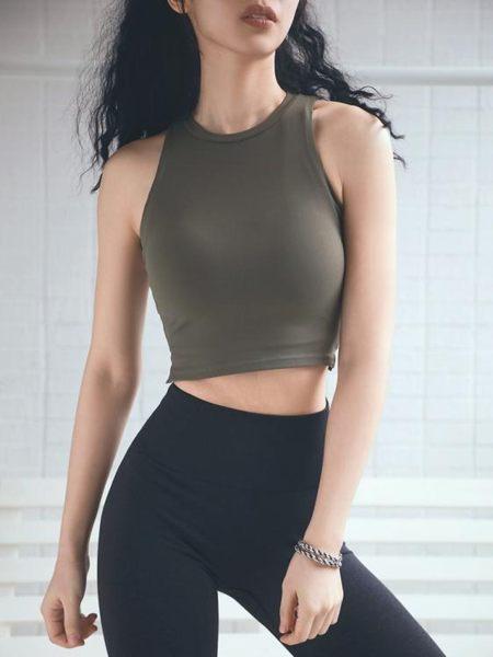 運動背心運動短款女背心夏季露臍緊身彈力速干顯瘦健身瑜伽罩衫上衣T恤tee嬡孕哺