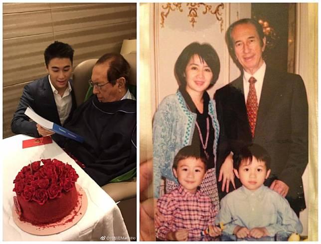 ▲何猷君(左圖左)貼出幼年時與爸爸何鴻燊的合照(右圖)悼念。(圖/翻攝何猷君微博)