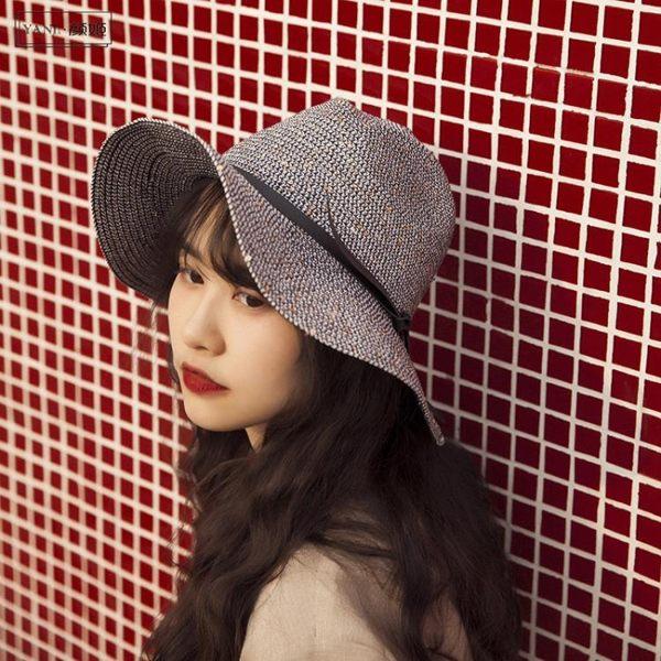 漁夫帽帽子女春夏戶外出游時尚漁夫帽子歐美英倫復古百搭卷邊系帶禮帽潮-可卡衣櫃