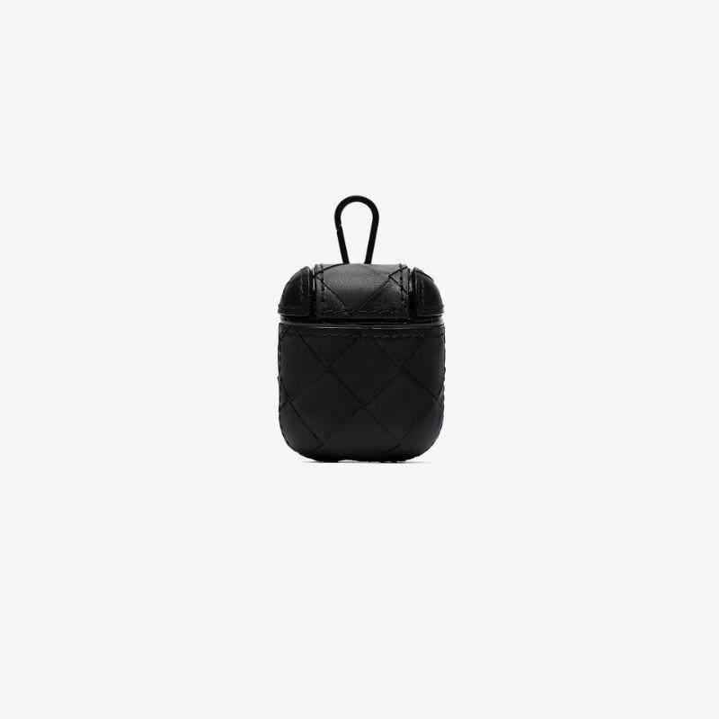 Bottega Veneta Mens Black Woven Leather Airpods Case