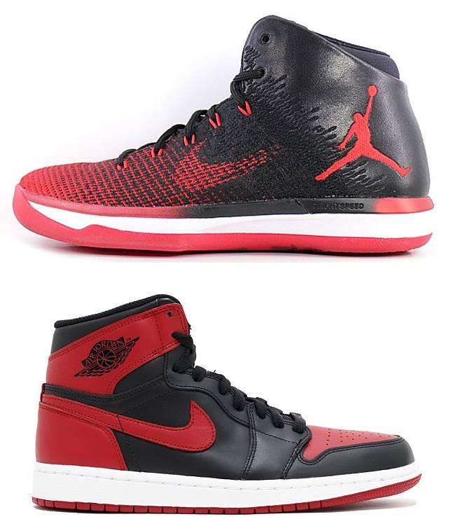 2016年登場配備全掌Zoom Air的Air Jordan XXXI,鞋身以編織物料與皮革接合而成,鞋身黑 x 紅配色、鞋底「BANNED」字樣及鞋舌內「X」標誌明顯都是元祖Air Jordan 1 Bred最經典元素。(互聯網)