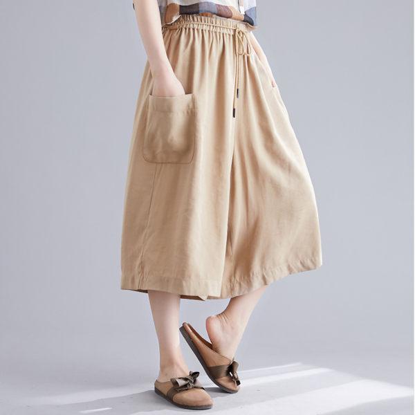 褲子 - B16476 卡其口袋七分寬褲【F碼】MEET中大尺碼