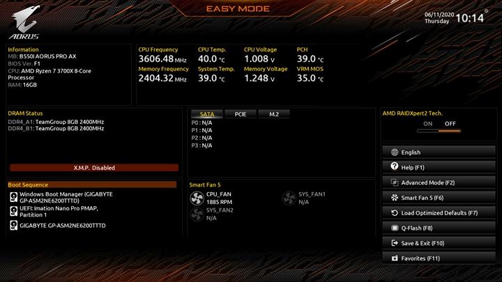 主要針對一般玩家設計的簡易模式(EZ Mode),可以從顯示面板上所整合的處理器/記憶體運作狀態、開機順序、散熱風扇運作狀態…等重要資訊,一目瞭然得知各個零組件的運作資訊,而不用透過層層選項頁面才能得知特定資訊。