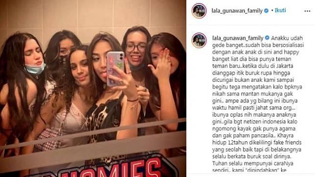 Unggahan istri Gunawan, Lala [Instagram/@lala_gunawan_family]