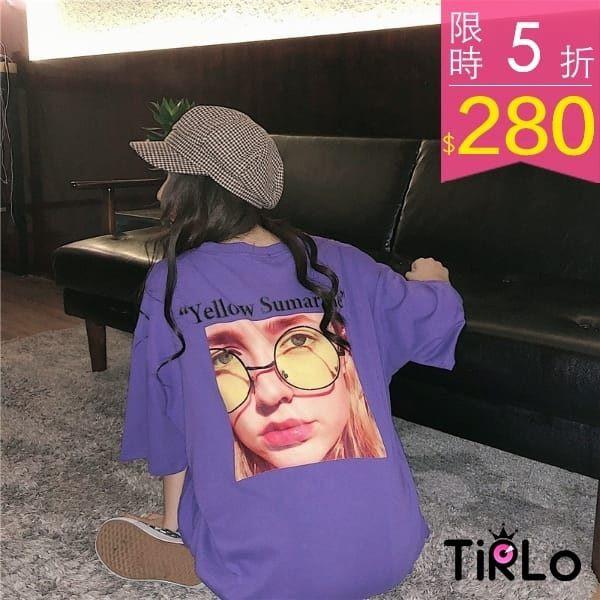 (追加)美式眼鏡女孩寬鬆短T-三色-Tirlo