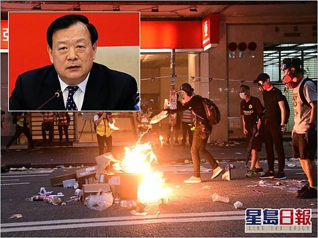 港澳辦主任夏寶龍(小圖)形容去年的示威成何體統。資料圖片