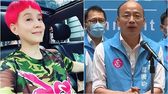 女星李明依(左圖);高雄市長韓國瑜(又圖)。(圖/翻攝自李明依臉書、TVBS資料畫面)