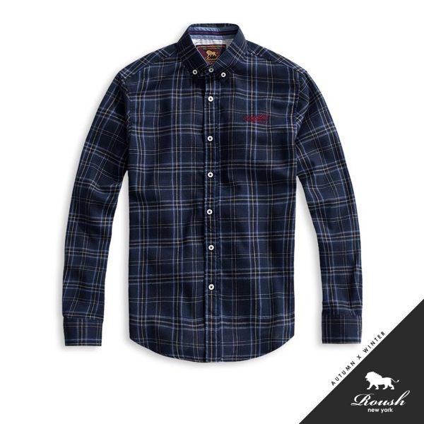休閒美式格紋襯衫,經典的小標在左胸口 n白灰後領布及紅藍後領條更有特色,美式休閒風必買襯衫