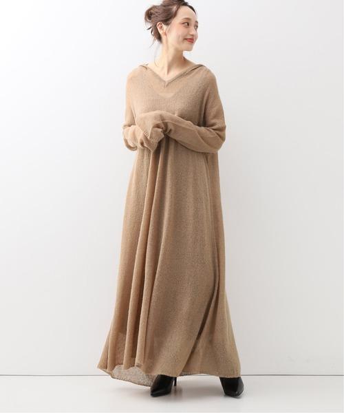 安哥拉羊毛薄紗感連帽針織連身裙