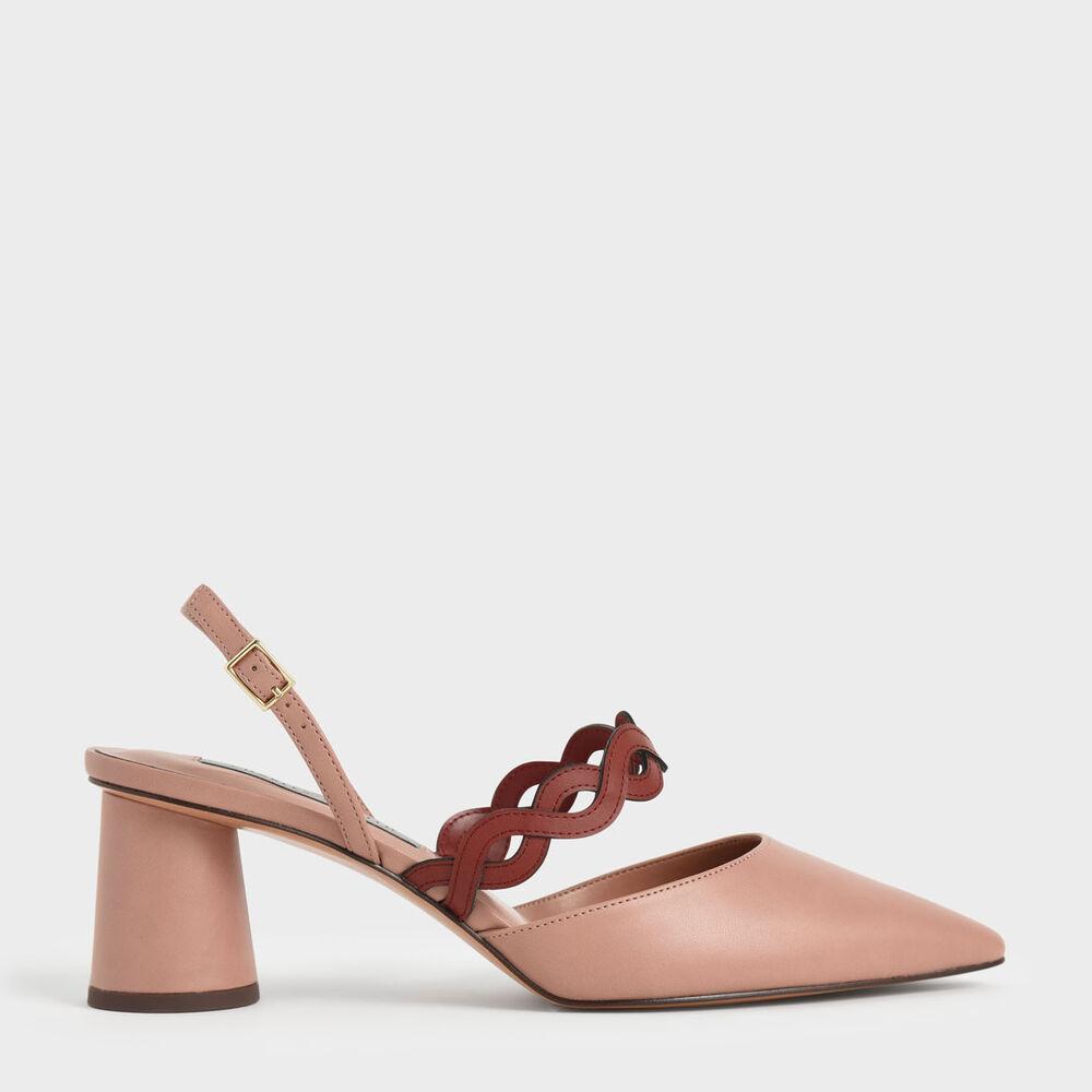 令人垂涎欲滴的莓果色系怎麼看都不膩,尖形鞋楦延伸視覺修長度、色調較深的波浪編織加強層次感,加上後繞帶的便利設計,讓你整個夏天都能穿出清爽透氣的甜美活力形象。