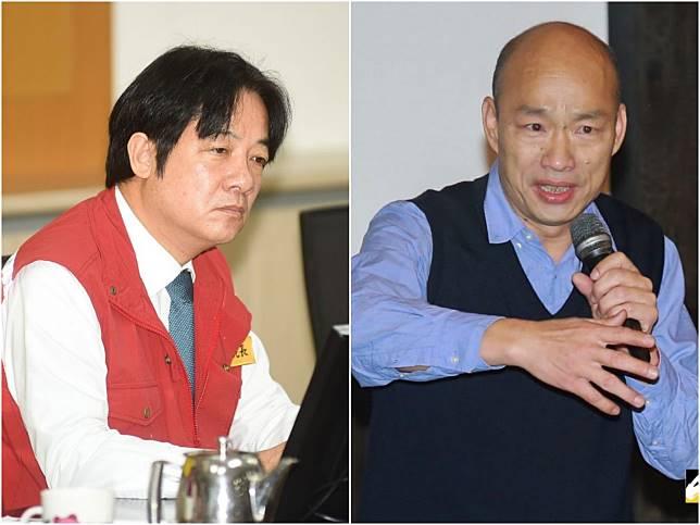 民調顯示,賴清德若代表民近膽參選2020,勝過國民黨目前檯面上最強的韓國瑜。 (合成圖/NOWnews資料照)