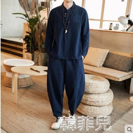 茶服 亞麻長袖t恤男青秋大碼中國風漢服半袖男裝棉麻套裝居士禪服