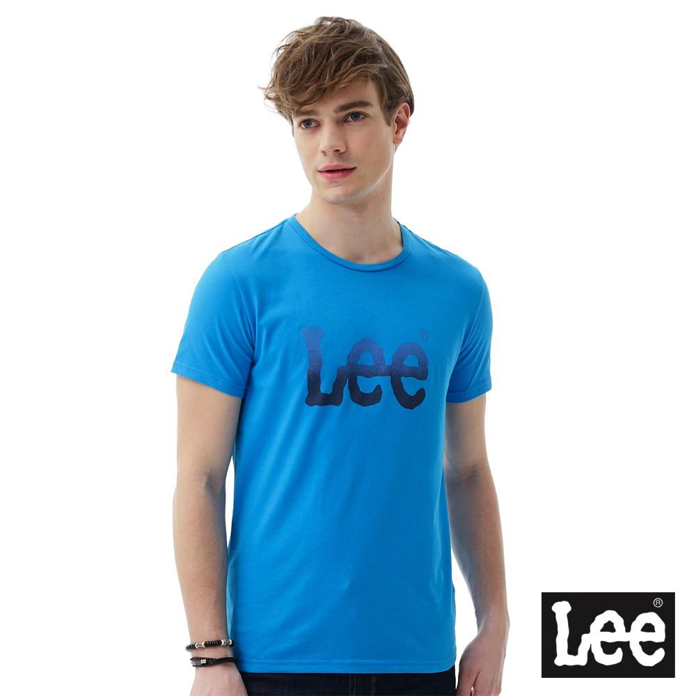 Lee 短袖T恤 藍色漸層LOGO印刷排汗質材 -男女款(藍)--LL16