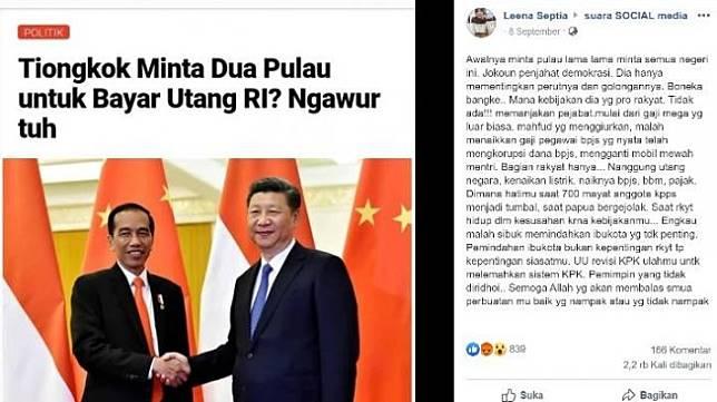 Screen Capture Presiden jokowi dan Presiden Cina Xi Jinping (Facebook)