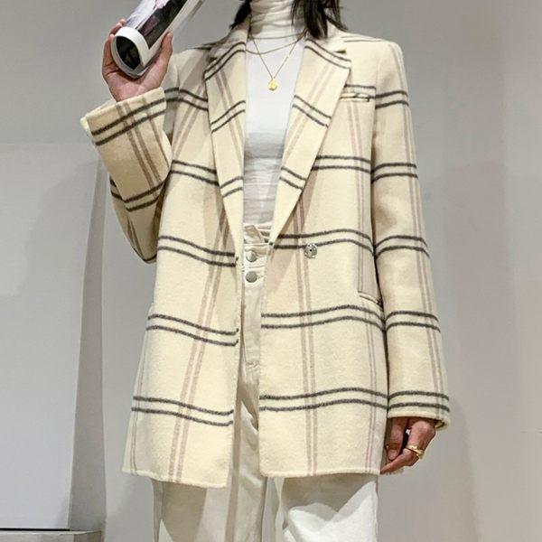 毛呢大衣 羊毛外套-格紋翻領直筒型短版女外套2色[巴黎精品]