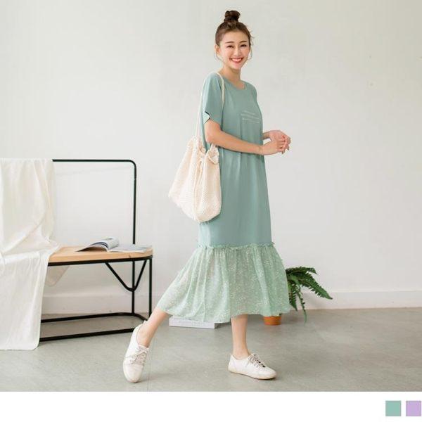 《DA6719》英文字燙印拼接雪紡荷葉裙擺長洋裝 OrangeBear
